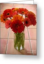 Gerbera Daisies - On Tile Greeting Card