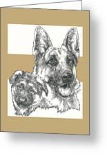 German Shepherd And Pup Greeting Card