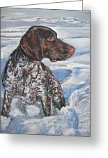 German Shorthaired Pointer In The Snowdrift Greeting Card