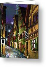 Germany Ulm Old Street Night Moon Greeting Card