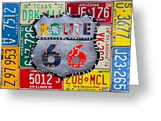 Get Your Kicks On Route 66 Recycled Vintage State License Plate Art By Design Turnpike Greeting Card