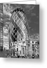 Gherkin And St Andrew's Black And White Greeting Card
