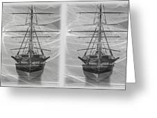 Ghost Ship - Gently Cross Your Eyes And Focus On The Middle Image Greeting Card
