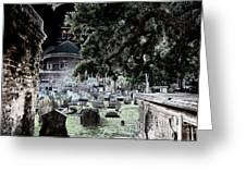 Ghostly Cemetary Greeting Card