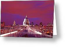 Ghostly Commuters Head To St Pauls On Millennium Bridge Greeting Card