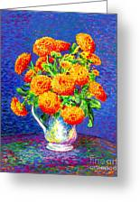 Gift Of Gold, Orange Flowers Greeting Card