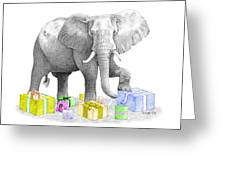 Gift Wrapping Elephant Greeting Card
