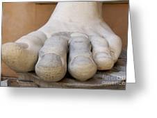 Gigantic Foot From The Statue Of Constantine. Rome. Italy. Greeting Card by Bernard Jaubert