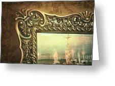 Gilded Mirror Reflection Of Chandelier Greeting Card