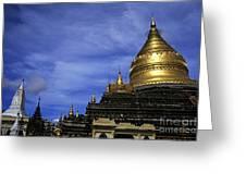 Gilded Stupa Of The Shwezigon Pagoda In Bagan Greeting Card