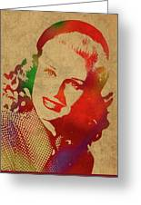 Ginger Rogers Watercolor Portrait Greeting Card