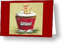 Gingerbread Cookie Cupcake Greeting Card
