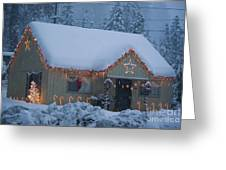 Gingerbread House In Snow Greeting Card