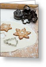 Gingerbread Making - Christmas Preparing With Vintage Kitchen Tools Greeting Card