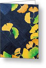 Ginkgo Leaves On Pavement Greeting Card