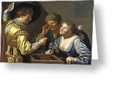 Giocatori Di Backgammon Greeting Card
