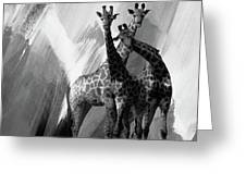 Giraffe Abstract Art Black And White Greeting Card