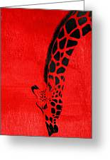 Giraffe Animal Decorative Red Wall Poster 3 - By  Diana Van Greeting Card