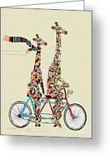 Giraffe Days Lets Tandem Greeting Card
