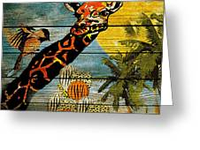 Giraffe Rustic Greeting Card