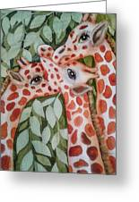 Giraffe Trio By Christine Lites Greeting Card by Allen Sheffield