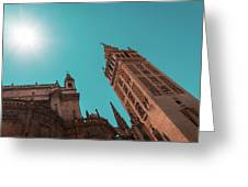 La Giralda Bell Tower Brilliantly Lit In Teal And Orange Greeting Card