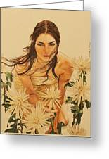 Girl Among The Flowers Greeting Card