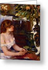 Girl And Cat 1882 Greeting Card