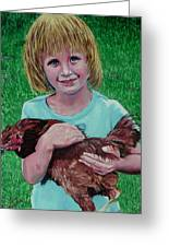 Girl And Chicken Greeting Card