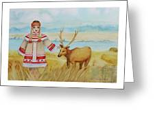 Girl And Deer Greeting Card