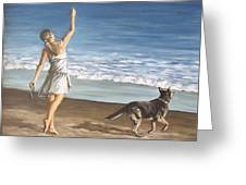 Girl And Dog Greeting Card