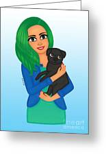 Girl And Dog Pet Greeting Card