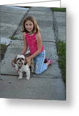 Girl And Her Dog Greeting Card
