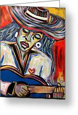 Girl And Her Guitar Greeting Card