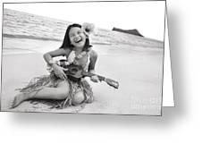 Girl And Her Ukulele Greeting Card