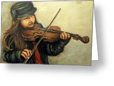 Girl And Her Violin Greeting Card