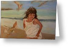 Girl And The Seagulls Greeting Card