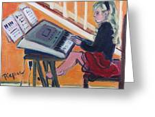 Girl At Keyboard Greeting Card