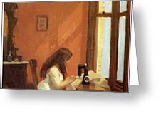 Girl At Sewing Machine Greeting Card