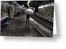 Girl At Subway Station Greeting Card