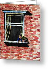 Girl At Window Greeting Card