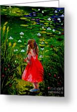 Girl By Lily Pond Greeting Card