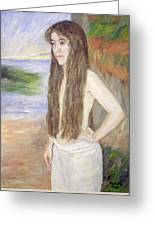 Girl By The Shore Greeting Card