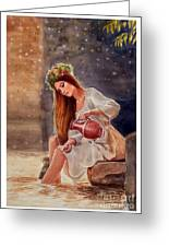 Girl By Water Spring Greeting Card