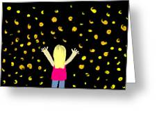 Girl Dancing With Fireflies Greeting Card