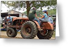 Girl Driving A Tractor Greeting Card