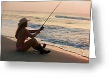 Girl Fishing Greeting Card