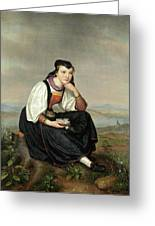 Girl From Hessen In Traditional Dress Greeting Card