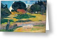 Girl Herding Pigs Greeting Card by Paul Gauguin