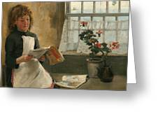 Girl In A Cottage Window Greeting Card